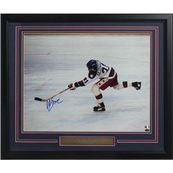 "Mike Eruzione Signed Team USA Hockey ""Miracle on Ice"" 22x27 Custom Framed Photo (SI COA)"