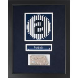 Derek Jeter Framed 16x20 New York Yankees Stadium Monument Park Brick Display (Steiner COA)