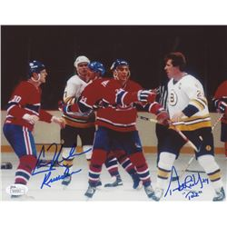 "Terry O'Reilly  Chris Nilan Signed ""Fight""  8x10 Photo Inscribed ""Knuckles""  ""Taz"" (JSA COA)"