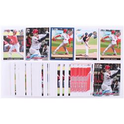 Lot of (100) Shohei Ohtani Baseball Cards with 2018 Angels Topps #A17, 2018 Leaf National Convention