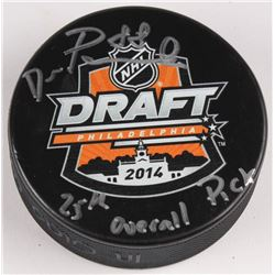 "David Pastrnak Signed 2014 NHL Draft Logo Hockey Puck Inscribed ""25th Overall Pick"" (Pastrnak Hologr"