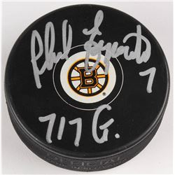 "Phil Esposito Signed Boston Bruins Logo Hockey Puck Inscribed ""717 G"" (JSA COA)"