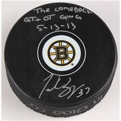"Patrice Bergeron Signed Boston Bruins Logo Hockey Puck Inscribed ""The Comeback GT  OT GWG""  ""5-1"