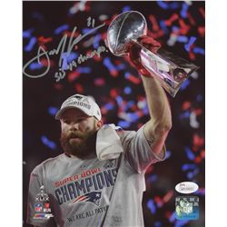 "Julian Edelman Signed New England Patriots ""Super Bowl XLIX Champions"" 8x10 Photo Inscribed ""SB 49 C"