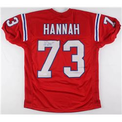 "John Hannah Signed New England Patriots Throwback Jersey Inscribed ""HOF 91"" (JSA COA)"
