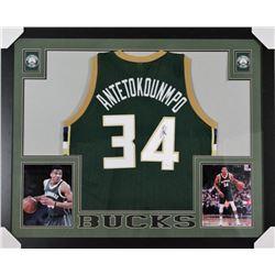 Giannis Antetokounmpo Signed Milwaukee Bucks 35x43 Custom Framed Jersey (JSA COA)