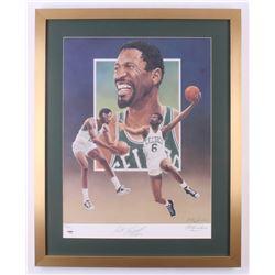 Bill Russell Signed Boston Celtics 22x27.5 Custom Framed Lithograph Display (PSA LOA)