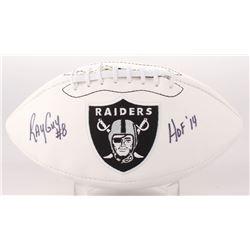 """Ray Guy Signed Oakland Raiders Logo Football Inscribed """"HOF 14"""" (JSA COA)"""