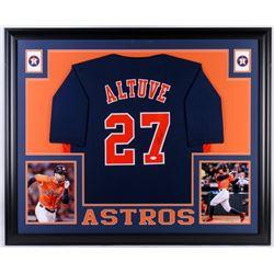 Jose Altuve Signed Houston Astros 35x43 Custom Framed Jersey (JSA COA)