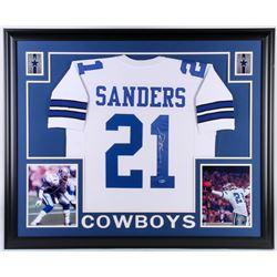 Deion Sanders Signed Dallas Cowboys 35x43 Custom Framed Jersey (Beckett COA)