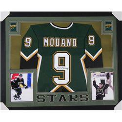 Mike Modano Signed Dallas Stars 35x43 Custom Framed Jersey (JSA COA)