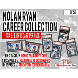 """""""Nolan Ryan Career Collection"""" ALL PSA Graded Card  Autograph Mystery Pack"""