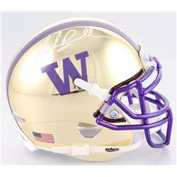 Mark Brunell Signed Washington Huskies Chrome Mini-Helmet (Beckett COA)