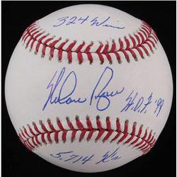 "Nolan Ryan Signed OML Baseball Inscribed ""HOF 99"", ""324 Wins""  ""5,714 K's"" (AI Verified COA  Ryan Ho"