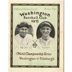 1925 World Series Washington Senators vs Pittsburgh Pirates Baseball Program