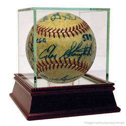 1952 Cardinals  Yankees ONL Baseball Signed by (24) with Mickey Mantle, Enos Slaughter, Hank Bauer,