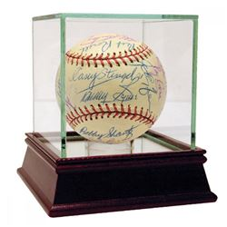 1959 Braves  Yankees Baseball Signed by (34) with Whitey Ford, Casey Stengal, Billy Martin, Don Lars