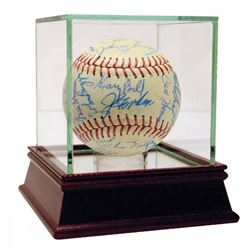 1959 Indians  Yankees Baseball Signed by (41) with Joe Gordon, Casey Stengel, Whitey Ford  High Qual