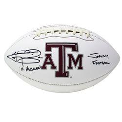 "Johnny Manziel Signed Texas AM Aggies Logo Football Inscribed ""12 Heisman""  ""Johnny Football"" (JSA C"
