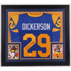 """Eric Dickerson Signed Los Angeles Rams 31x35 Custom Framed Jersey Inscribed """"HOF 99"""" (JSA COA)"""