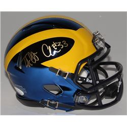 Taco Charlton Signed Michigan Wolverines Chrome Speed Mini-Helmet (JSA COA)