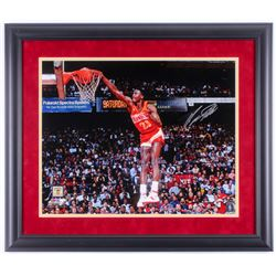 Dominique Wilkins Signed Atlanta Hawks 23x27 Custom Framed Photo Display (Schwartz COA)