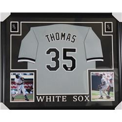 Frank Thomas Signed Chicago White Sox 35x43 Custom Framed Jersey (JSA Hologram)