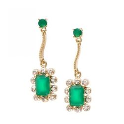3.94 CT Emerald  Diamond Elegant Earrings