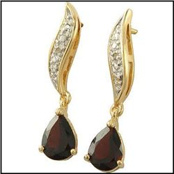3.55 CT Garnet  Diamond Elegant Designer Earrings