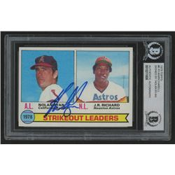 Nolan Ryan Signed 1979 Topps #6 Strikeout Leaders / Nolan Ryan / J.R. Richard Baseball Card (BGS Enc