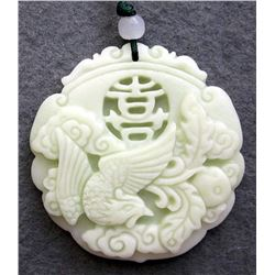 255 Cts Real White Jade XI Lucky Phoenix Amulet Pendant