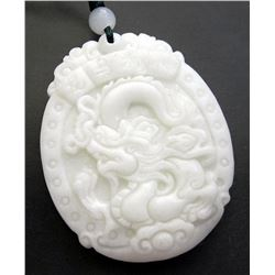227 CT Real White Jade Dragon Word Amulet Pendant