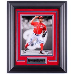 Stephen Strasburg Signed Washington Nationals 14.5x17.5 Custom Framed Photo Display (Schwartz COA  M