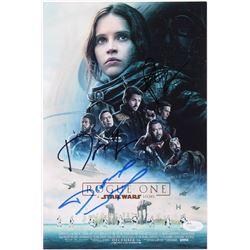 "Felicity Jones, Diego Luna  Donnie Yen Signed ""Rogue One: A Star Wars Story"" 8x12 Photo (JSA COA)"