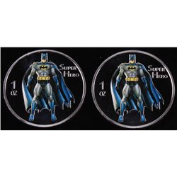 Lot of (2) 2014 1 Ounce Silver Batman Bullion Rounds
