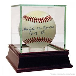 "Burleigh Grimes Signed ONL Baseball with High Quality Display Case Inscribed ""10-9-85"" (JSA Hologram"
