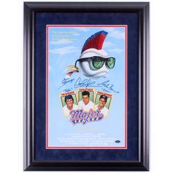 """Charlie Sheen, Tom Berenger  Corbin Bernsen Signed """"Major League"""" 18x23.5 Custom Framed Poster Displ"""
