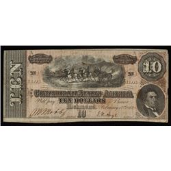 1864 $10 Ten Dollars Confederate States of America Richmond CSA Bank Note