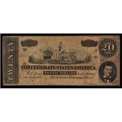 1864 $20 Twenty Dollars Confederate States of America Richmond CSA Bank Note
