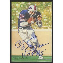 O.J. Simpson Signed 1994 LE Buffalo Bills 4x6 Pro Football Hall of Fame Art Collection Card Inscribe