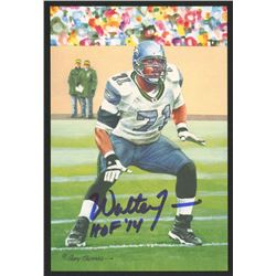Walter Jones Signed 2014 LE Seatle Seahawks 4x6 Pro Football Hall of Fame Art Collection Card Inscri