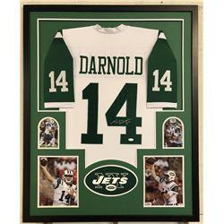 Sam Darnold Signed New York Jets 34x42 Custom Framed Jersey Display (JSA COA)