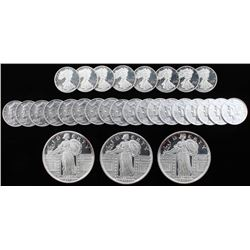 Lot of (29) Coins with (3) One Troy Ounce .999 Fine Silver Round  (26) One-Tenth Troy Ounce .999 Fin