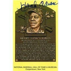 Hank Aaron Signed Hall of Fame Plaque Postcard (JSA Hologram)