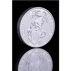 2019 2 oz British Silver Queens Beast Yale of Beaufort Coin (Brilliant Uncirculated)