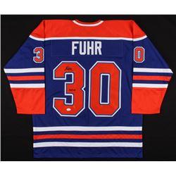 "Grant Fuhr Signed Edmonton Oilers Jersey Inscribed ""HOF 03"" (JSA COA)"