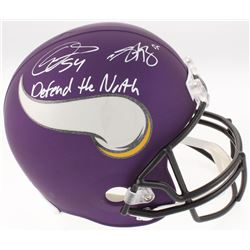 Anthony Barr  Eric Kendricks Signed Minnesota Vikings Custom Matte Purple Full-Size Helmet Inscribed