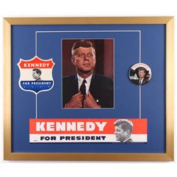 John F. Kennedy 22x26 Custom Framed Print Display With (3) Vintage Campaign Items