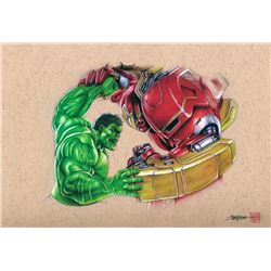 "Thang Nguyen - ""Hulk vs Hulk Buster"" - The Avengers 8x12 Signed Limited Edition Giclee on Fine Art P"