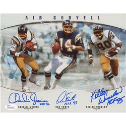 Charlie Joiner, Dan Fouts  Kellen Winslow Signed San Diego Chargers 8x10 Photo Inscribed  HOF 96 ,